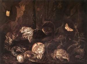 Famous paintings of Butterflies: Still-Life with Insects and Amphibians 1662