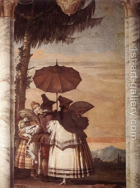 Summer Stroll 1757 by Giovanni Domenico Tiepolo - Reproduction Oil Painting