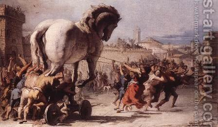 The Procession of the Trojan Horse in Troy 1773 by Giovanni Domenico Tiepolo - Reproduction Oil Painting
