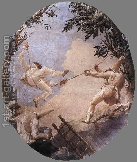 The Swing of Pulcinella 1791-93 by Giovanni Domenico Tiepolo - Reproduction Oil Painting