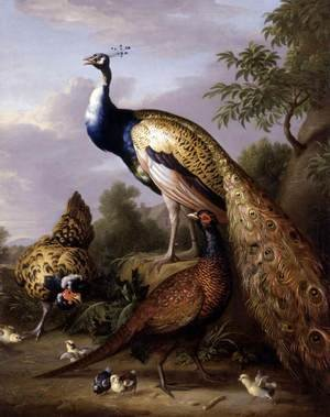 Famous paintings of Animals: Peacock, Hen and Cock Pheasant in a Landscape