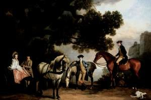 Famous paintings of Horses & Horse Riding: The Milbanke and Melbourne Families c. 1769