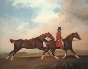 Famous paintings of Horses & Horse Riding: William Anderson with Two Saddle-horses 1793