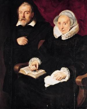 Famous paintings of Couples: Portrait of Elisabeth Mertens and Her Late Husband c. 1630