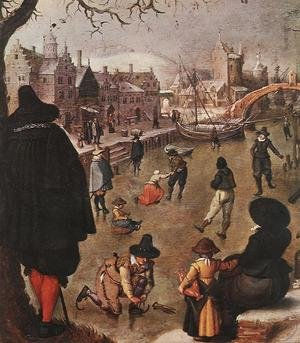 Famous paintings of Ice skating: January (detail)
