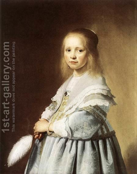 Girl in a Blue Dress 1641 by Johannes Cornelisz. Verspronck - Reproduction Oil Painting