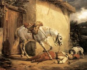 Famous paintings of Dogs: The Wounded Trumpeter 1819