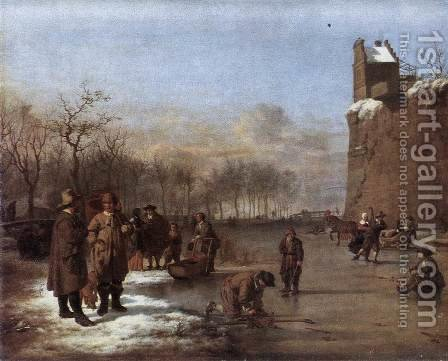 Amusement on the Ice 1669 by Adriaen Van De Velde - Reproduction Oil Painting