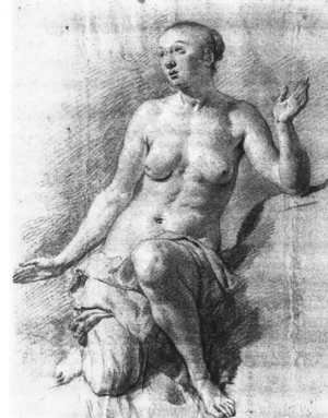 Famous Paintings in Ashmolean Museum, Oxford, UK: Study of a Female Nude