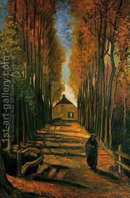 Avenue Of Poplars In Autumn by Vincent Van Gogh - Reproduction Oil Painting