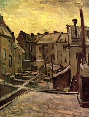 Reproduction oil paintings - Vincent Van Gogh - Backyards Of Old Houses In Antwerp In The Snow