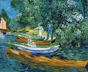 Famous paintings of Ships & Boats: Bank Of The Oise At Auvers