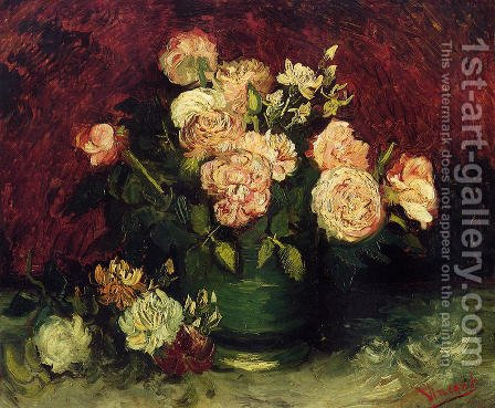 Vincent Van Gogh: Bowl With Peonies And Roses - reproduction oil painting