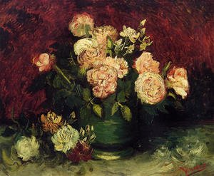 Famous paintings of Still Life: Bowl With Peonies And Roses
