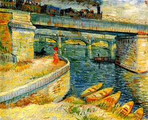 Famous paintings of Ships & Boats: Bridges Across The Seine At Asnieres