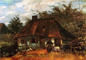 Famous paintings of Goats: Cottage And Woman With Goat