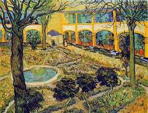 Famous paintings of Pools: The Courtyard Of The Hospital At Arles