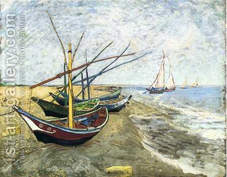 Vincent Van Gogh: Fishing Boats On The Beach At Saintes Maries - reproduction oil painting