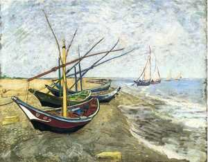 Famous paintings of Ships & Boats: Fishing Boats On The Beach At Saintes Maries