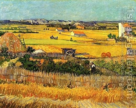 Vincent Van Gogh: Harvest At La Crau With Montmajour In The Background - reproduction oil painting