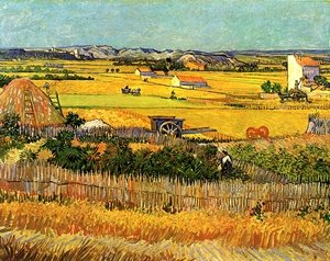 Famous paintings of Transportation: Harvest At La Crau With Montmajour In The Background