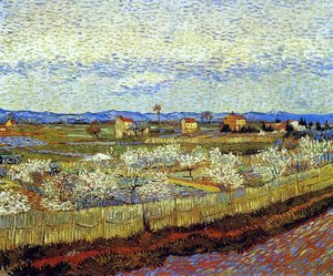 Famous paintings of Clouds & Skyscapes: La Crau With Peach Trees In Blossom