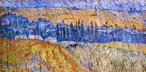 Famous paintings of Villages: Landscape At Auvers In The Rain