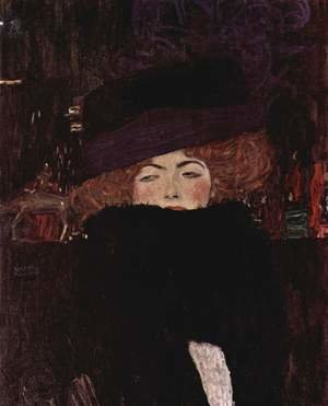 Reproduction oil paintings - Gustav Klimt - Lady With Hat And Feather Boa