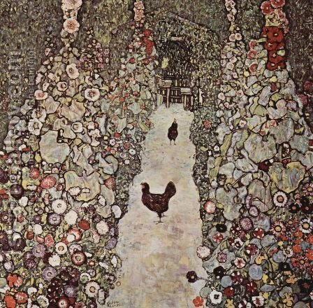 Gustav Klimt: Garden Path With Chicken - reproduction oil painting
