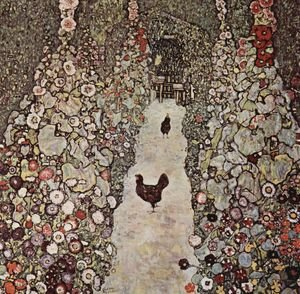 Reproduction oil paintings - Gustav Klimt - Garden Path With Chicken