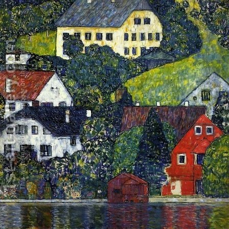 Houses In Unterach On The Attersee by Gustav Klimt - Reproduction Oil Painting