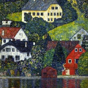Reproduction oil paintings - Gustav Klimt - Houses In Unterach On The Attersee