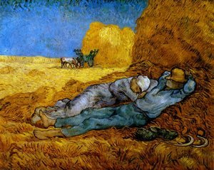 Famous paintings of Horses & Horse Riding: Rest From Work (after Millet)