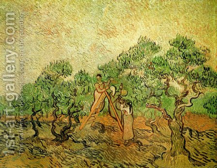 Vincent Van Gogh: Olive Picking III - reproduction oil painting