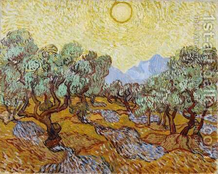 Vincent Van Gogh: Olive Trees With Yellow Sky And Sun - reproduction oil painting