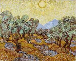 Famous paintings of Trees: Olive Trees With Yellow Sky And Sun