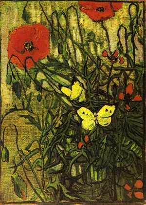 Famous paintings of Butterflies: Poppies And Butterflies