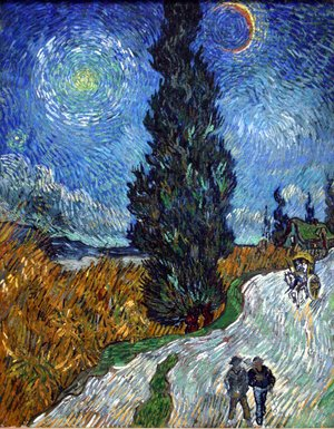Famous paintings of Trees: Road With Cypress And Star