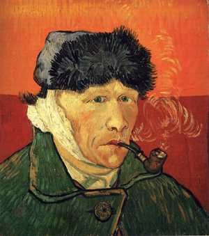Famous paintings of Men: Self Portrait With Bandaged Ear And Pipe