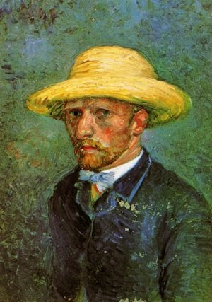 Famous paintings of Men: Self Portrait With Straw Hat