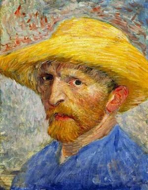 Famous paintings of Men: Self Portrait With Straw Hat IV