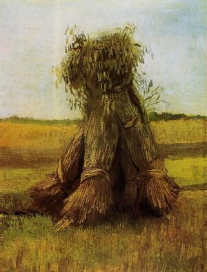 Reproduction oil paintings - Vincent Van Gogh - Sheaves Of Wheat In A Field