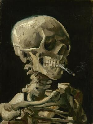 Famous paintings of Fantasy, Mythology, Sci-Fi: Skull With Burning Cigarette