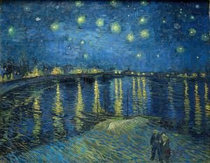 Famous paintings of Ships & Boats: Starry Night Over The Rhone