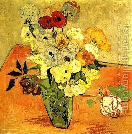 Vincent Van Gogh: Japanese Vase With Roses And Anemones - reproduction oil painting