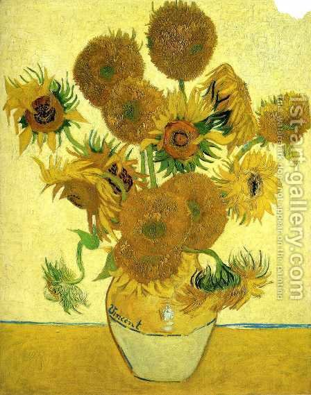 Vincent Van Gogh: Vase With Fifteen Sunflowers - reproduction oil painting