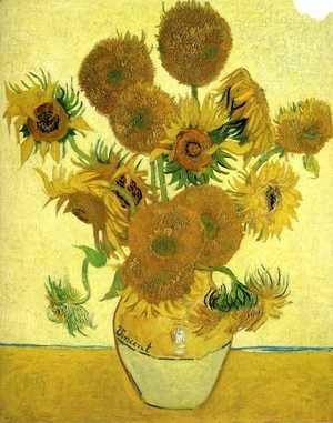 Famous paintings of Vases: Vase With Fifteen Sunflowers