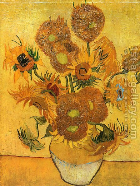 Vase With Fifteen Sunflowers II by Vincent Van Gogh - Reproduction Oil Painting