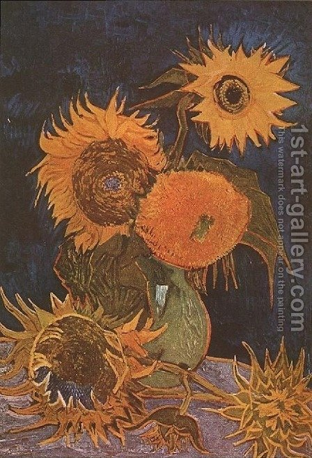 Vase With Five Sunflowers by Vincent Van Gogh - Reproduction Oil Painting