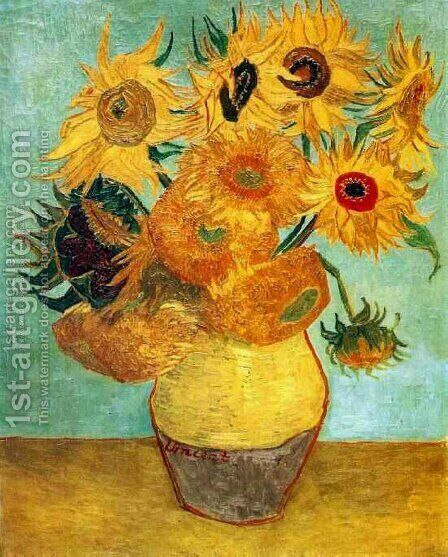 Vincent Van Gogh: Vase With Twelve Sunflowers II - reproduction oil painting